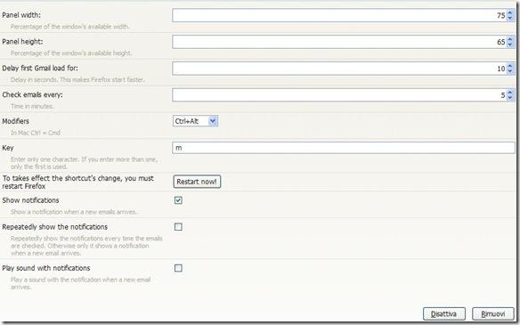 Gmail panel opzioni
