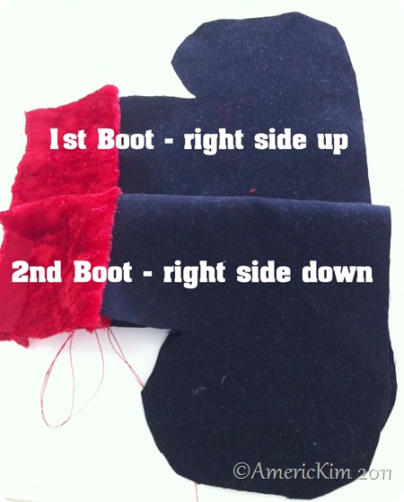 Sew two boot sets together