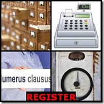 REGISTER- 4 Pics 1 Word Answers 3 Letters
