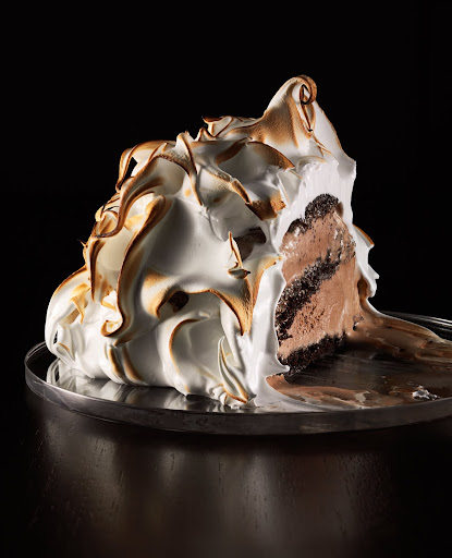 Baked Alaska with chocolate cake and chocolate ice cream. (Martha Stewart Living)