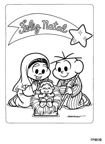 cebolinha e monica-feliz natal,desenho para imprimir e colorir natal,
