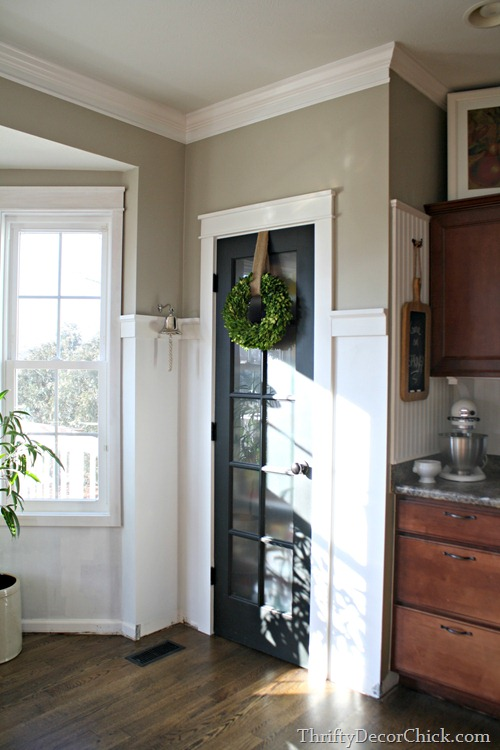 white trim black door