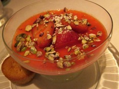 Buttermilk pannacotta with English strawberries, pistachios and financier