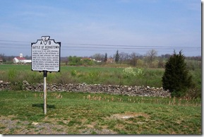Battle of Kernstown marker A-9 with Pritchard Hill and Farm in the background.