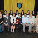 Winners of the Student of the year awards at the Mulroy College prize giving on Thursday night last. Seated from left are  Scatha Farrell, Board of Management, Ian McGarvey, Donegal Mayor, Fiona Temple, Principal, Gillian Marley, Student of the Year 6th Year, Jason Black, guest Speaker, Tony McCarry, Parents Committtee and Catherine McHugh, Deputy Principal. Back from left are Ben Harkin, Dylan McBride, Rosa Barrett, Chloe Bradley, Erin Mallon, Aine Greene, Aoife Sweeney and Zoe Greene. Photo Clive Wasson.