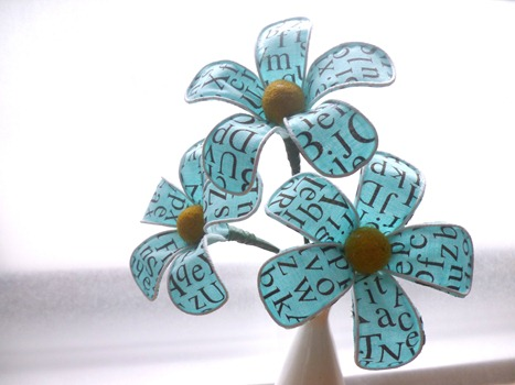fabric flowers blue