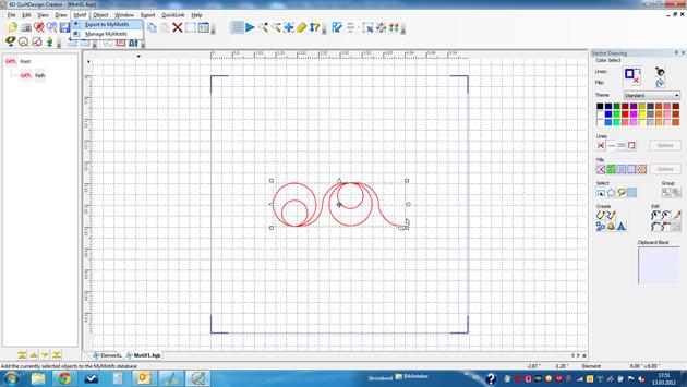 Tegne nytt motiv i 4D QuiltDesign Creator. Eksporter det til My Motifs.
