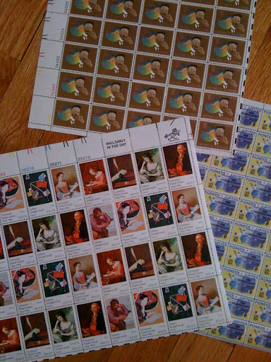 i love the repetition of the stamps in full sheets.