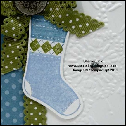 Stocking_Builder_Punch, Createdbyu_Blogspot, Sharon_Field, Holiday_Mini_Catalog, Idea_Book_and Catalog, Shop_online, Polar_Party, Come_to_Bethlehem, Christmas, Holiday, CAS, Clean_and_Simple, Quick_Cards, Blue