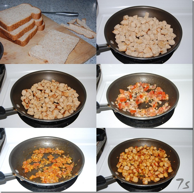 Bread upma process