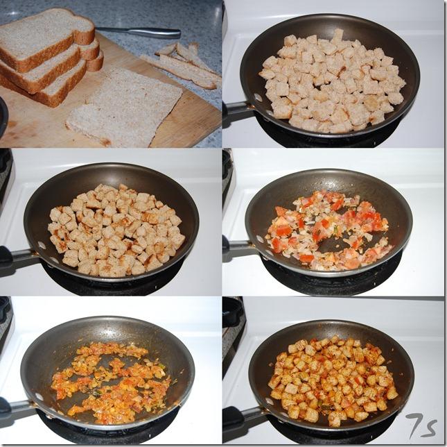 Bread upma process