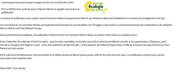 Aurore Martin Comunicat EELV