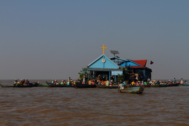 Floating village at Chong Khneas, Tonle Sap, Cambodia