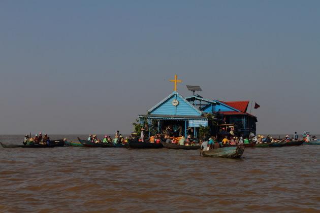 Floating village at Chong Khneas, Tonle Sap, Cambodia