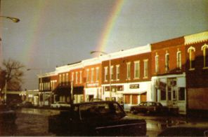 POST CARD: Double Rainbow over Ronald Reagan's birthplace in Tampico, IL on Election Eve. Ronald was given this picture, which he was known to keep in his desk drawer. He would take it out when he needed some inspiration.