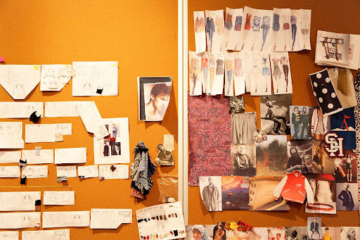 Something as simple as a sheath of corkboard and some strategic pushpinned cutouts can transform a whole wall! (www.theselby.com)