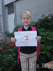 Girl A first day of 2nd grade