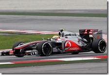 Hamilton nelle qualifiche del gran premio della Malesia 2012