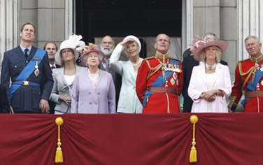 Queen Elizabeth II Watching The Traditional Trooping The Color &  Royal Air Force Fly-Past Ceremony
