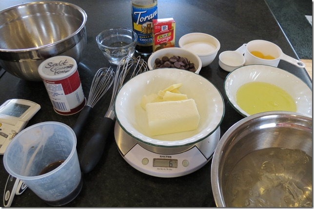 Mise en place for Julia Child's chocolate mousse 8-14-12