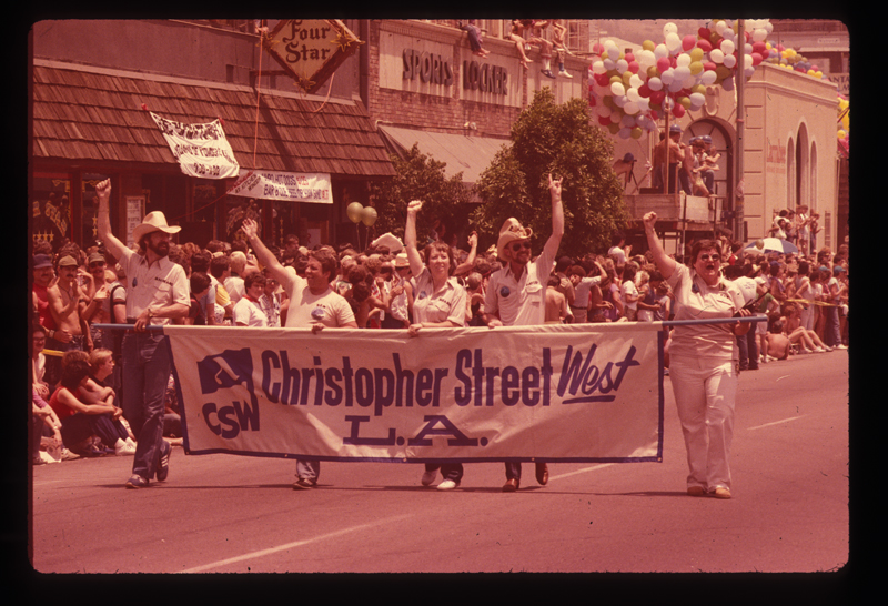 The lead banner in the Los Angeles Christopher Street West pride parade. 1982.