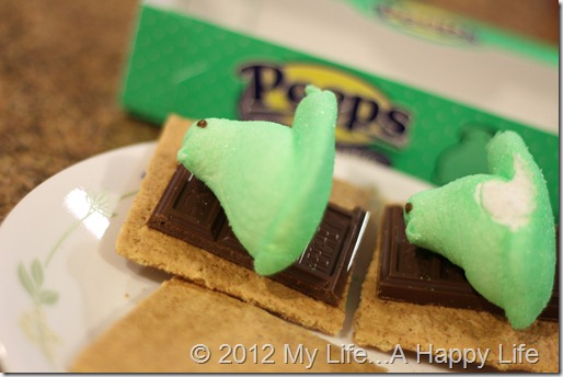 Peep Smores - Chocolate, Green Peeps and Graham Crackers