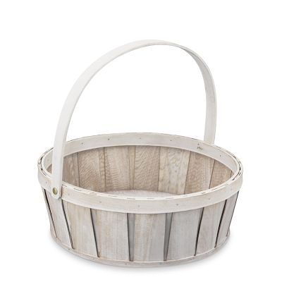The white-wash effect on this basket is beautiful. (Vintage Style Wooden Easter Basket, Williams Sonoma)