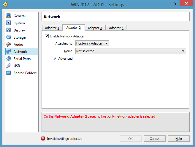 VirtualBox VM Settings Window