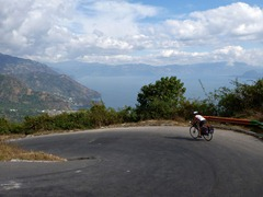 Descending the switchbacks to Lago Atitlan