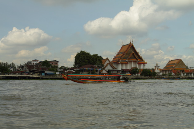Buddhist temples on the Thonburi bank of the Chao Phraya River in Bangkok