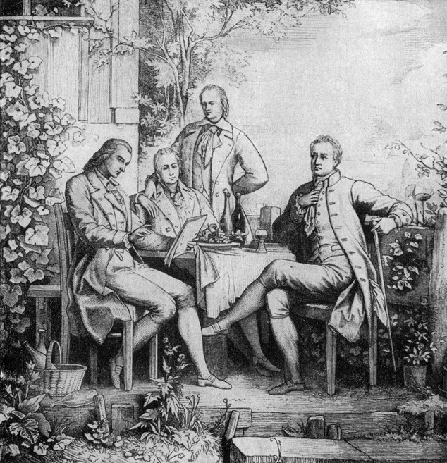 Goethe, Schiller, Alexander and Wilhelm von Humboldt in Jena, c. 1797