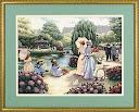 Вышитые картины, изделия из бисера и бусин, вязанные изделия, купить A stroll in the park, Прогулка в парке.