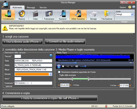 iDevice Manager Editor Suoneria