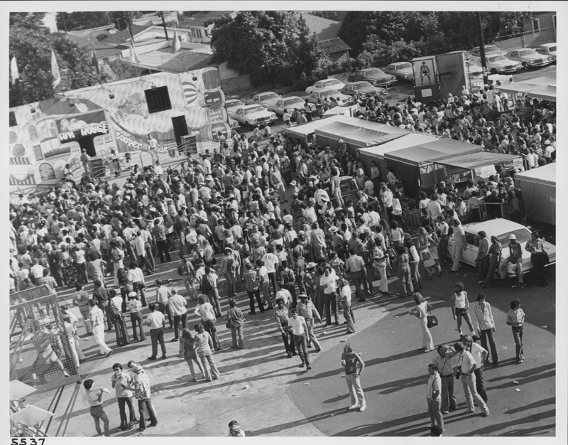 Crowd shot of the Los Angeles Christopher Street West pride parade festival. 1975.