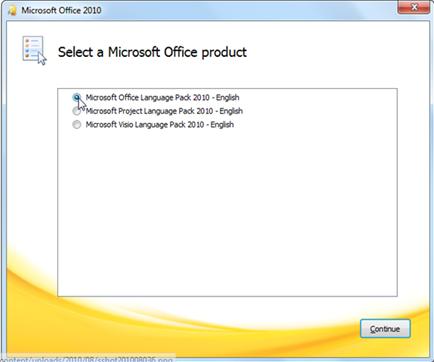 เปลี่ยนภาษาในเมนู Microsfot office 2010