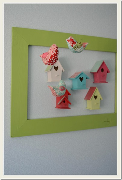 Framed Bird Houses and Hanging Birds 2