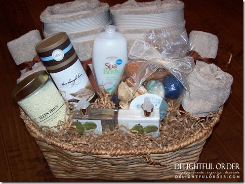 did a relaxation towel bathroom gift basket as a bridal shower gift