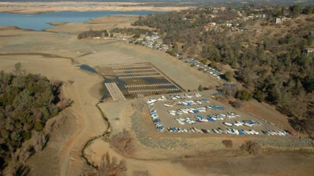 Aerial view of California's Folsom Lake, after the record drought dried it up. Photo: California Department of Water Resources