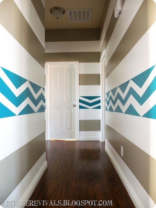 DIY Striped Chevron Wall Treatment