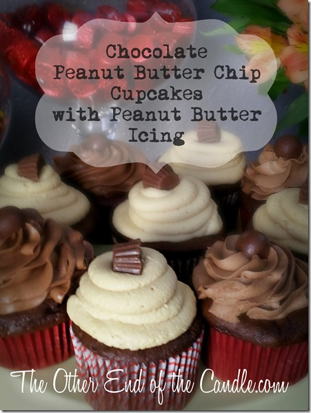 Chocolate Peanut Butter Cupcakes with Creamy Peanut Butter Frosting via TheOtherEndOfTheCandle.com