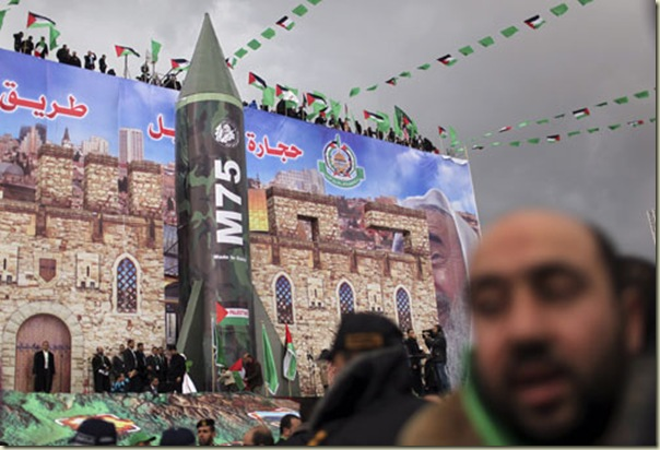 Model of the M75 missile during a rally marking the 25th anniversary of the founding of Hamas, in Gaza City, 8 Dec 2012