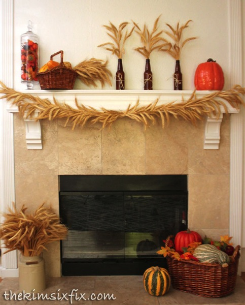 Golden harvest mantel