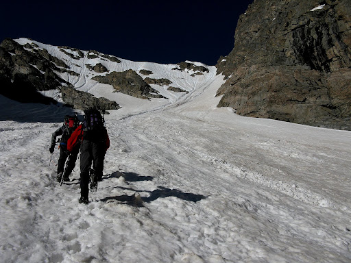 Heading up the mellow apron of Taylor Glacier.