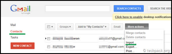 import facebook address csv file to gmail