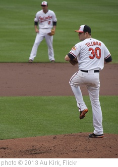 'Chris Tillman Pitching Windup - J.J. Hardy at Shortstop in Background - Baltimore Orioles' photo (c) 2013, Au Kirk - license: http://creativecommons.org/licenses/by/2.0/
