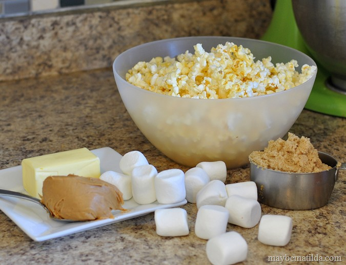 ingredients for peanut butter popcorn