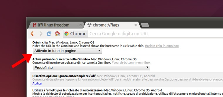 Chrome - attivare origin chip in omnibox