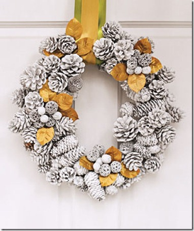 Winter wreath--spray painted white pine cone wreath with gold accents