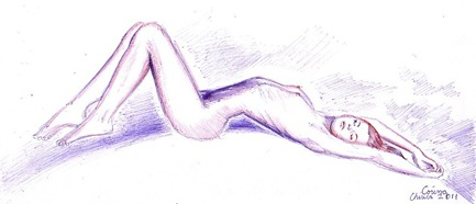 Pen drawing of a beautiful nude woman