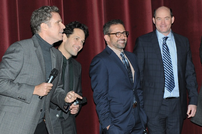 Dublin – 9th December 2013: Will Ferrell, Paul Rudd, Steve Carrell and David Koechner attend the Dublin Premiere of Anchorman 2 – Credit: Clodagh Kilcoyne for Paramount Pictures International via Getty Images